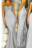 Mermaid Grey Spaghetti Straps Sweetheart Lace Satin Bridesmaid Dresses uk PW419