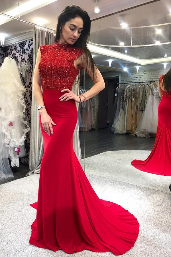 Mermaid High Neck Open Back Red Prom Dresses with Beads, Long Evening Dresses P1008