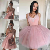 Mini Blush Pink Short Homecoming Dresses with V Neck Appliqued Tulle Prom Dresses PW955