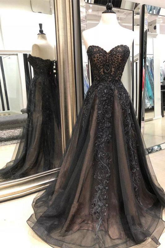 Black Sweetheart Tulle Lace Strapless Beads Prom Dresses with Lace up, Evening Dresses PW976
