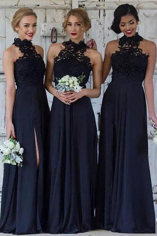 Navy Blue Halter Lace Appliques Bridesmaid Dresses, Top Chiffon Side Split Prom Dresses PW342