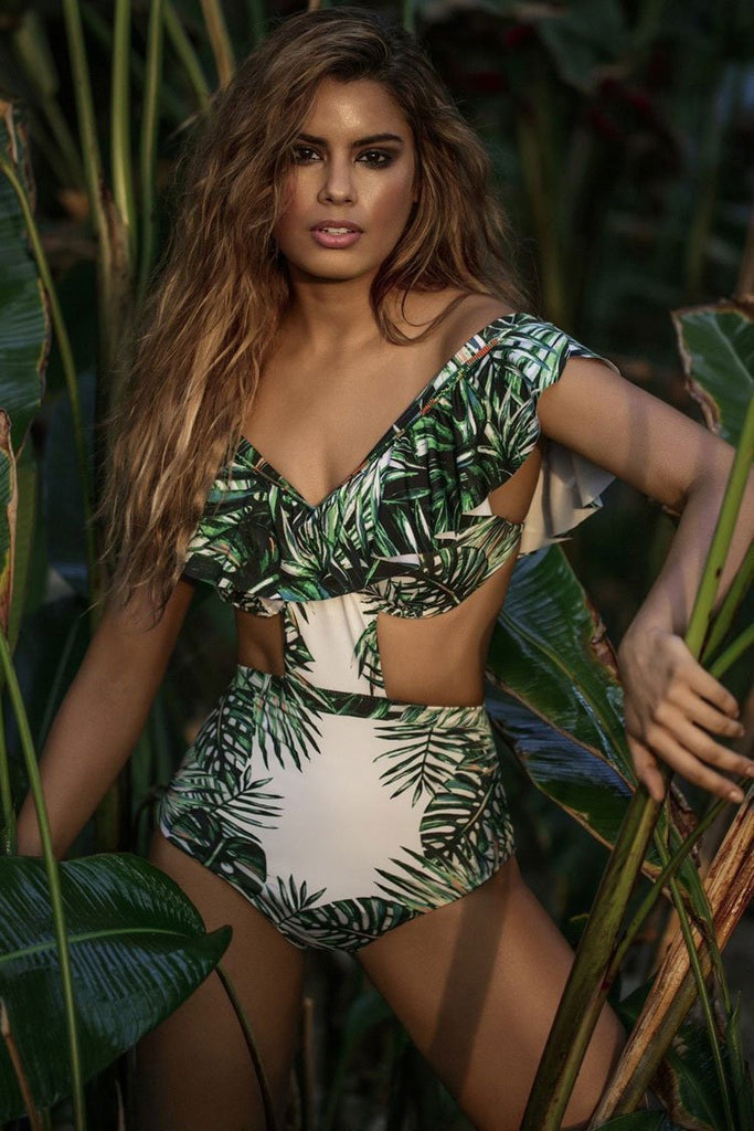 Off Shoulder Monokini One Piece Tropical Ruffle Swimsuit SK006