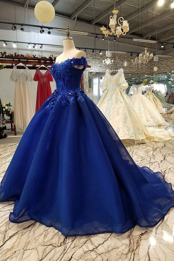 Off Shoulder Royal Blue Evening Dresses with 3D Floral Lace Ball Gown Quinceanera Dresses PW491