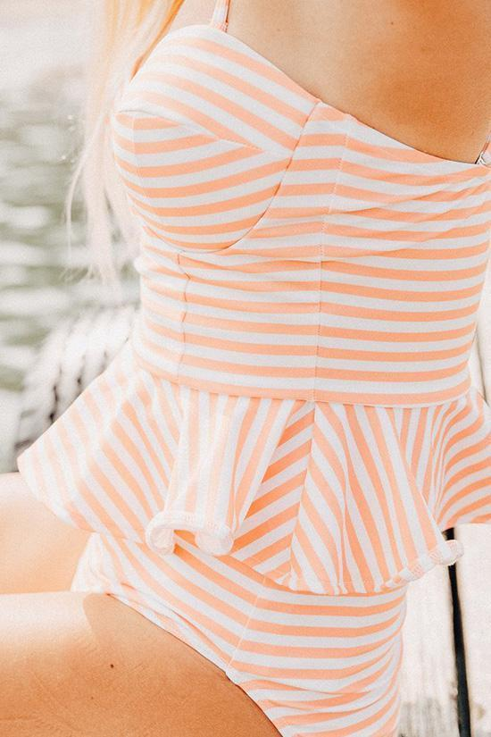 Orange Retro Striped Bandini Tankini Swimsuit SB91