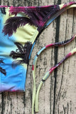 Colorful Palm Tree Tie String Thong Slide Triangle Bikini Swimsuit SB189