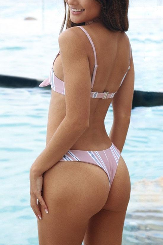 Simple Pink Stripe Knotted Bikini Swimsuit SB255