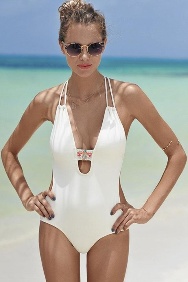 Plunging Neck Monokini One Piece Swimsuit SK054
