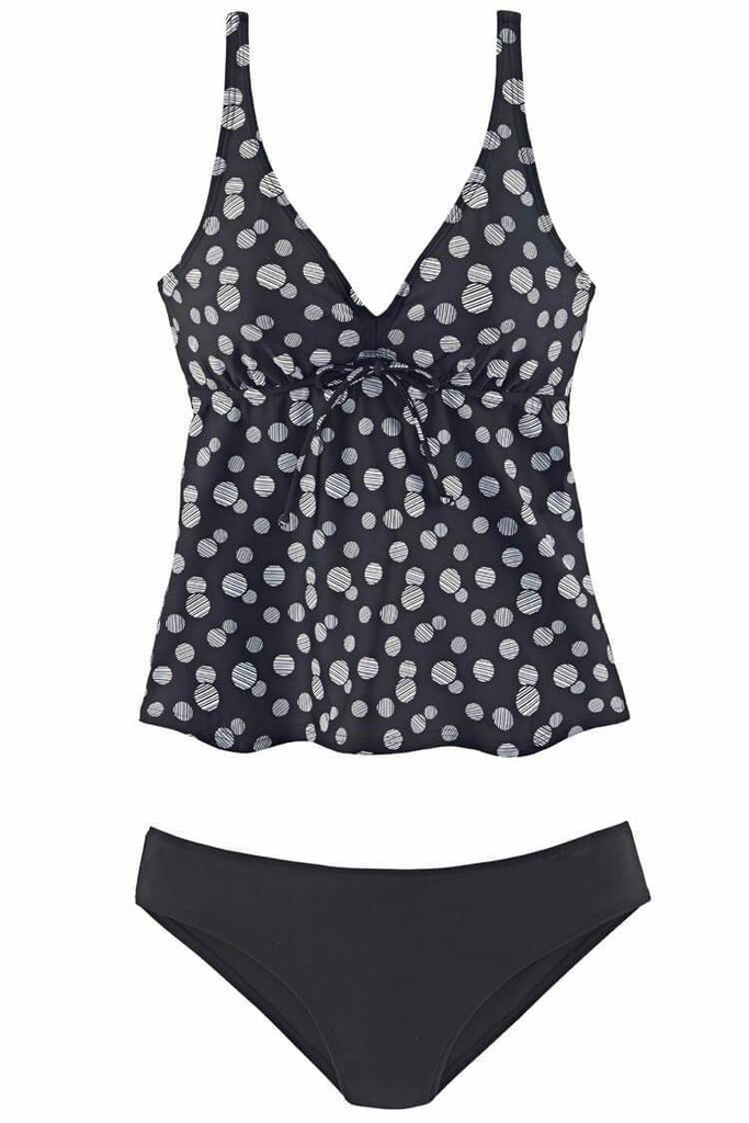 Polka Dot Bowknot Flare Plunged V Neck Tankini Swimsuit SK098