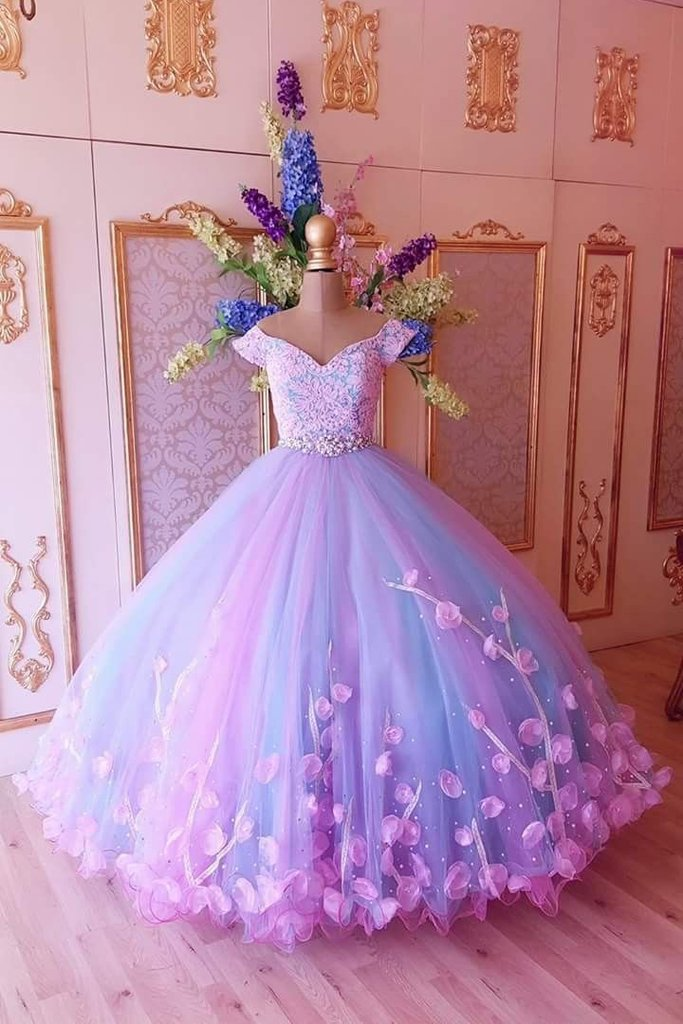 Princess Pink and Blue Ball Gown Off the Shoulder Prom Dresses,Quinceanera Dresses PW911