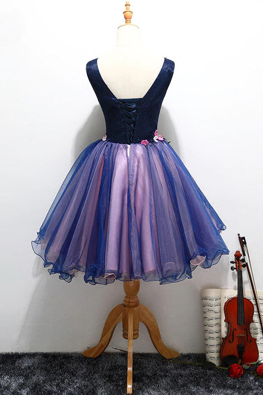 Purple Tulle V Neck Straps Lace up Homecoming Dresses with 3D Flowers Prom Dresses OM09