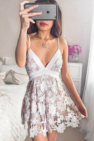 A-Line Spaghetti Straps Short Lace V Neck Ivory Homecoming Dress with Bowknot PH658