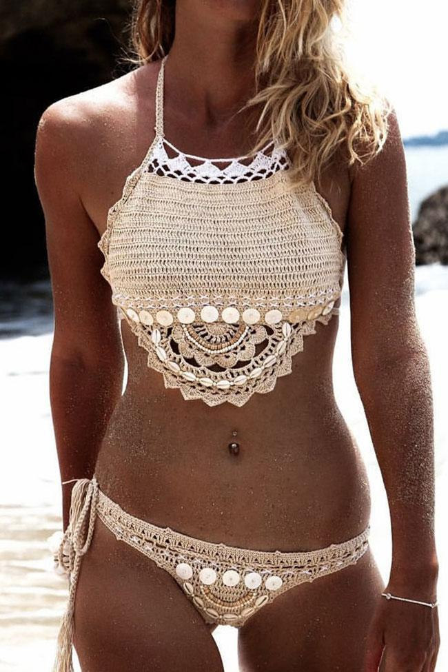 Relaxed Scalloped Shell Crochet Bikini Sets SB167