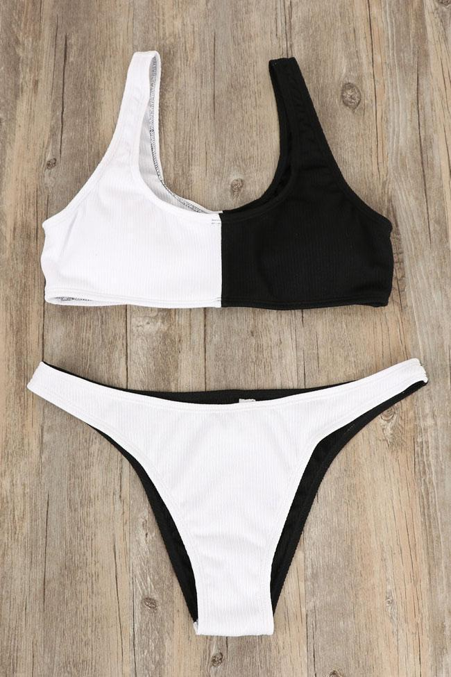 Chic Ribbed Color Block High Leg Crop Bikini Swimsuit SB272
