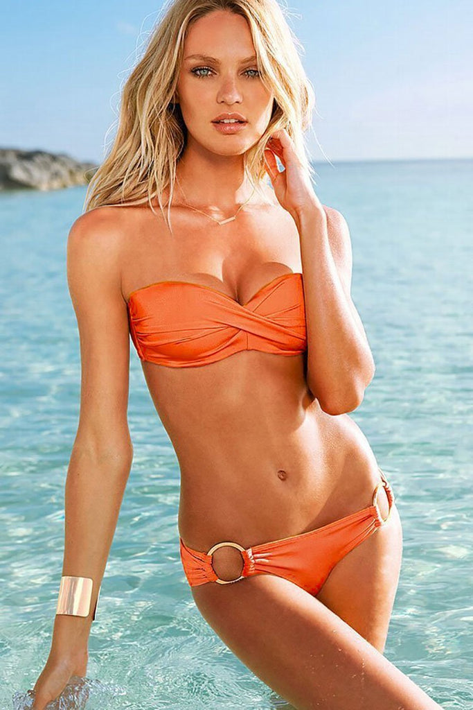 Chic Ruched Twisted Halter Bikini Swimwear SB131