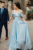 Satin Light Blue Prom Gowns with Folded Neckline Sweetheart Long Prom Dresses PW485