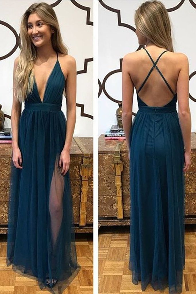 Sexy A Line Spaghetti Straps Blue Tulle Prom Dress with Split Criss Cross Evening Dresses PW910