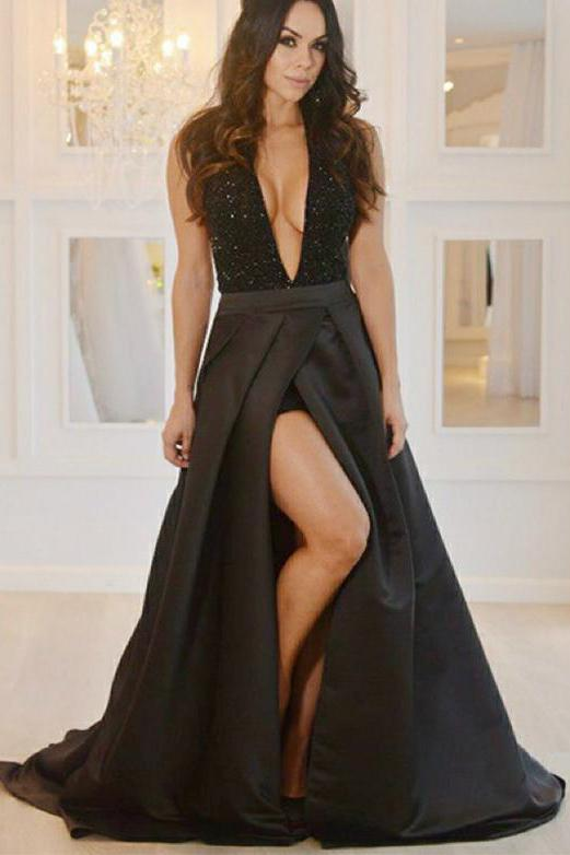 Sexy Deep V-Neck Black Prom Dresses With Beading High Slit Backless Formal Dresses PW463