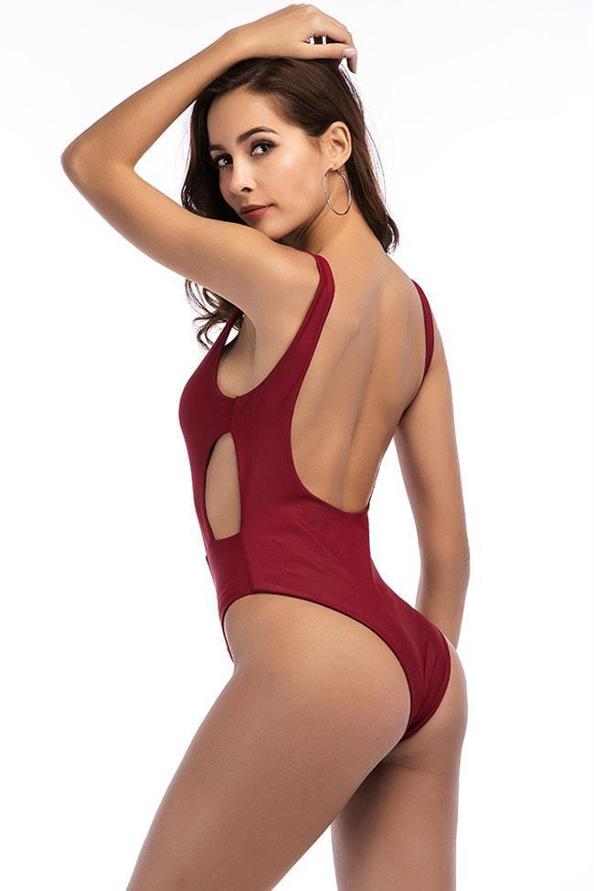 Sexy Low Back Cut Out Low Scoop Back One Piece Swimsuit B0071