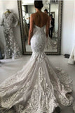 Sexy Mermaid Ivory Lace Appliques Backless Wedding Dresses, Wedding Gowns W1011