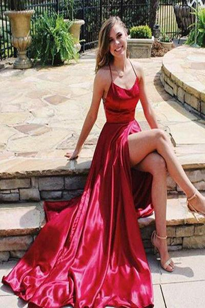 Sexy Spaghetti Straps Side Slit Red Satin Long Prom Dresses, Cheap Evening Dresses PW927