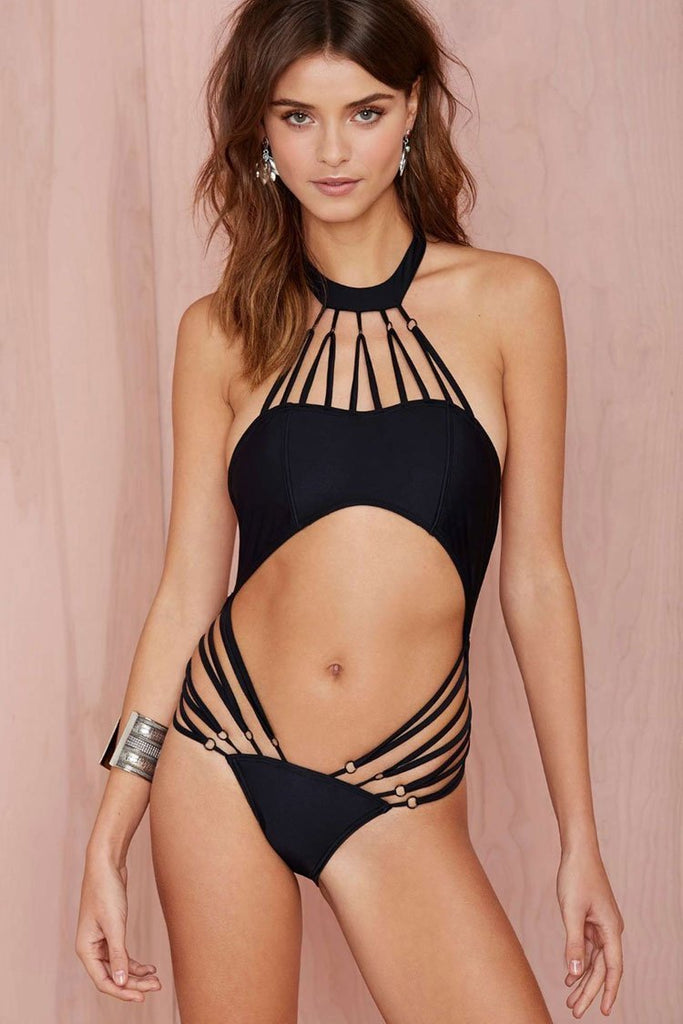 Sexy Strappy Trim Halter Monokini One Piece Swimsuit SK037