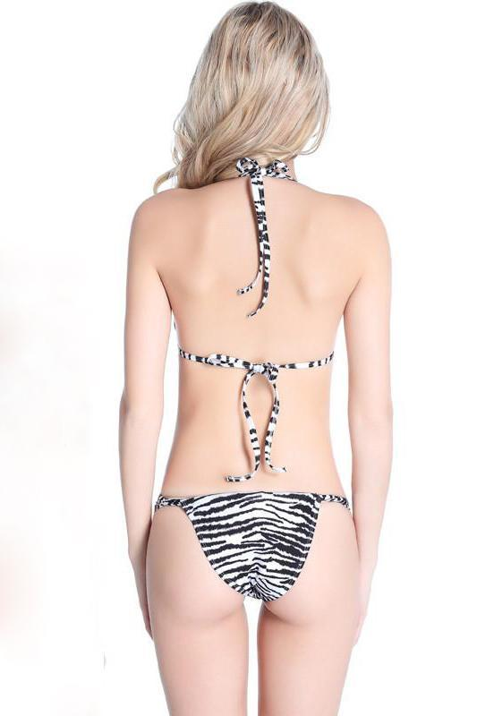 Sexy Women Mature Micro Zebra Print Bikini Honeymoon Swimsuit B006