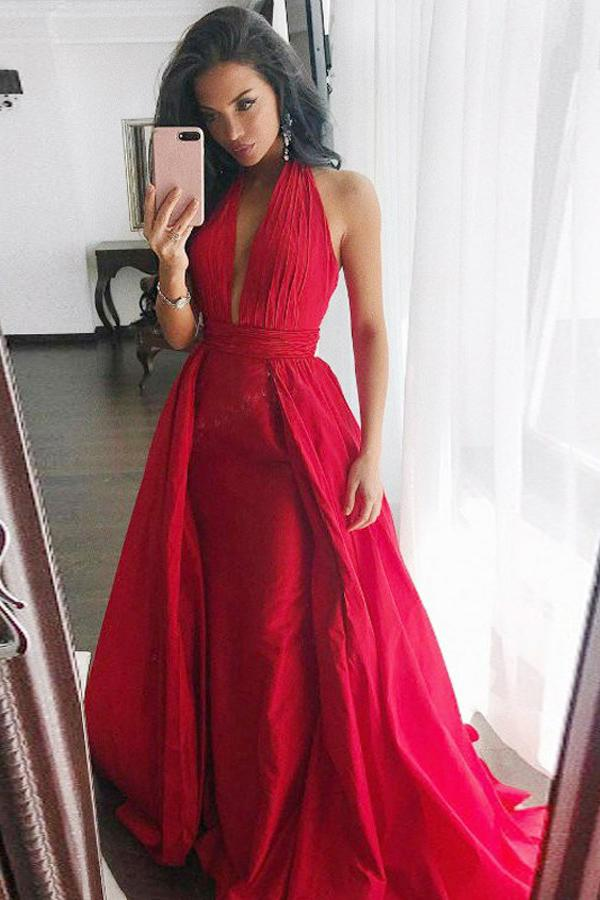 Sheath Halter Sweep Train Pleated Red Satin Prom Dress Sleeveless V Neck Party Dress PW482