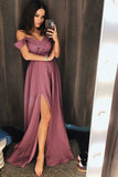 Simple A Line Off the Shoulder V Neck Ruffles Prom Dresses, Slit Long Evening Dresses P1004
