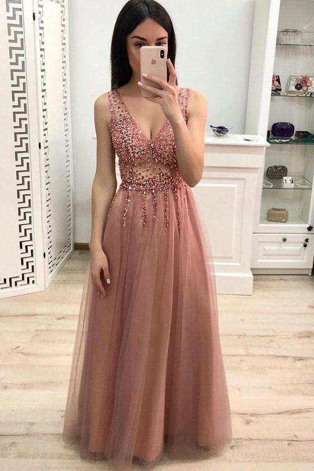 Simple A Line V Neck Prom Dress with Beading and Sequins, Long Party Dress PW892