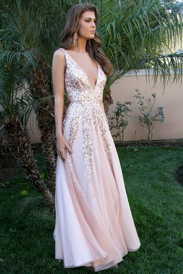 Simple  V Neck Long A-line Pink Sequins Open Back Simple Flowy Prom Dresses uk PW405