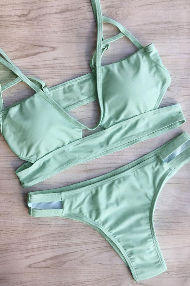 Simple Cutout Triangle Bikini Swimsuit SB322