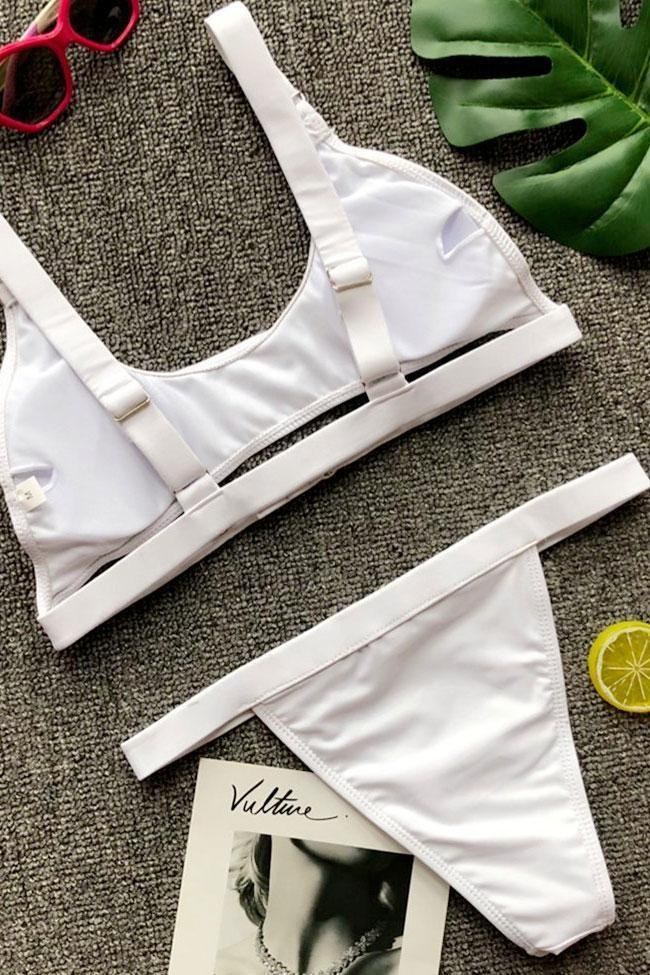 Chic Solid High Leg Buckle Trim Crop Bikini Swimsuit SB321