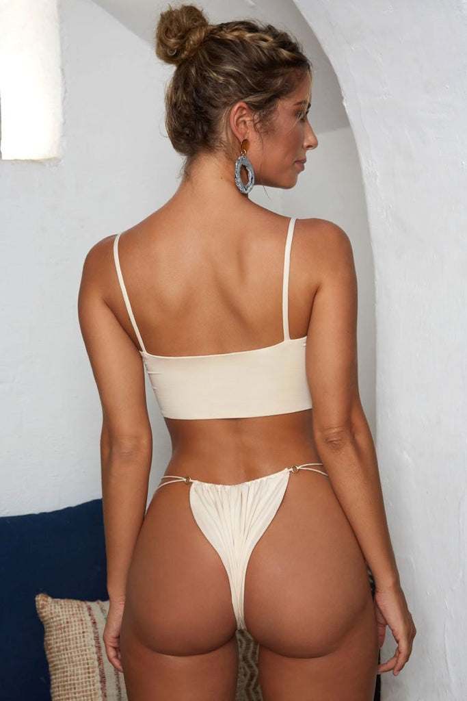 Solid Tied Side String Thong Crop Bikini Sets SB217