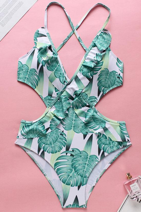 Spaghetti-straps Monokini One Piece Ruffle Tropical Palm Leaf Swimsuit SK002