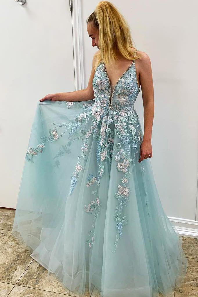 Spaghetti Straps Floral Beading Long Mint Green Prom Dress, V Neck Tulle Formal Dress P1003