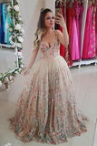 Spaghetti Straps Floral Embroidery Sweetheart Prom Dresses Long Formal Dress uk PW442