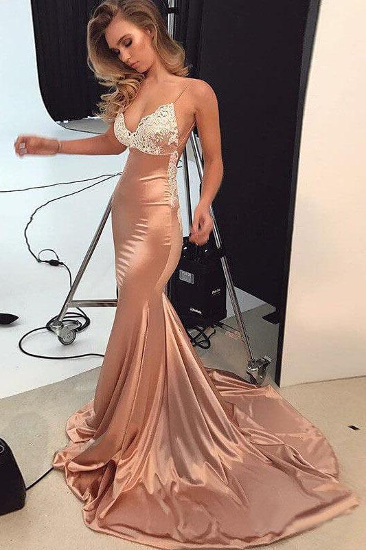 Spaghetti Straps V Neck Satin Prom Dresses Lace Criss Cross Mermaid Evening Dress PW524