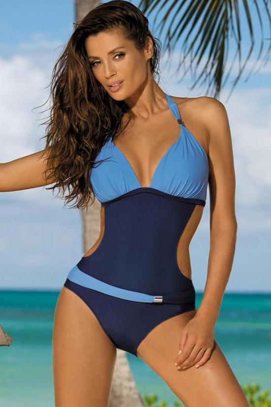 Sportive Contrast Color Monokini One Piece Swimsuit SK038