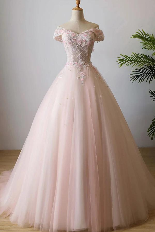 Princess Off the Shoulder Pink Ball Gown Quinceanera Dresses Tulle Flowers Prom Dresses OM15