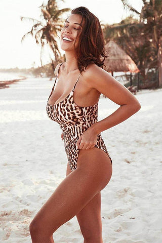 Summer Bikini One-Piece Leopard Print Swimsuit B0011
