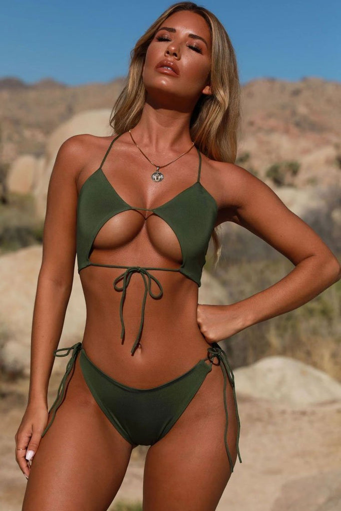 Two Piece Tied Strappy Thong Bikini Swimsuit SB75
