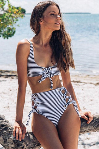 Two Piece Striped Strappy High Waist Sexy Bikini Swimsuit B007