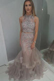 Two Pieces Mermaid High Neck Blush Prom Dress With Beading Evening Dresses PW443