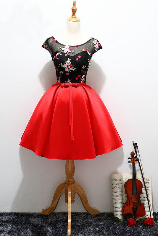 Simple Red Satin Cap Sleeves Scoop Belt Flowers Homecoming Dresses with Lace up OM08