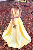 Unique Yellow Satin Prom Dresses with V Neck V Back Straps Long Formal Dresses PW486