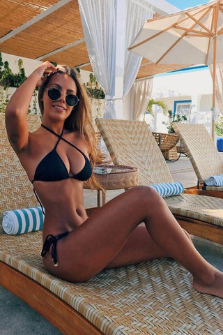 Halter Triangle Top With Thin Stringed Bottom Black Bikini Set B0029