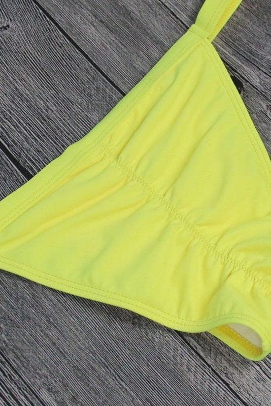 Yellow Chic Triangle Brazilian Bikini Swimsuit SB84