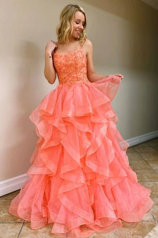 A Line Coral Backless Tulle Beaded Long Prom Gowns, Spaghetti Straps Layers Prom Dress OM123