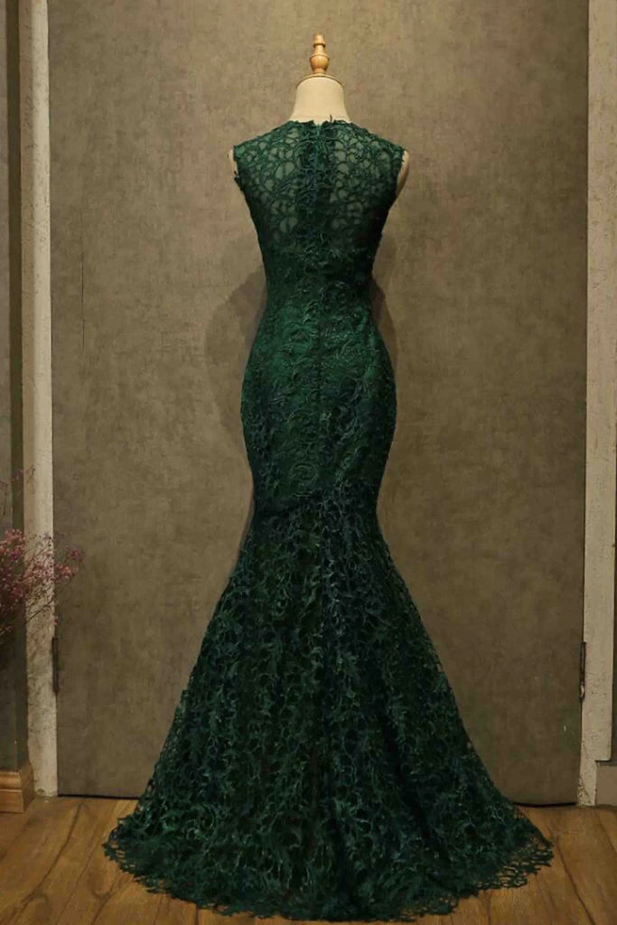 Elegant Dark Green Lace Mermaid Straps Prom Dresses, Long Evening Dresses OM122