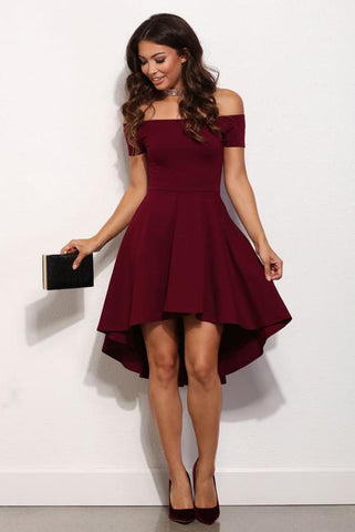 Short A Line Burgundy Off the Shoulder High Low Knee Length Satin Homecoming Dresses PH644